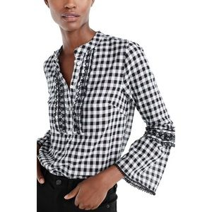 J.Crew Gingham Embroidered Bell Sleeve Popover Top